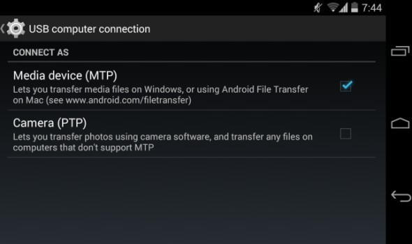android enable file transfer mode